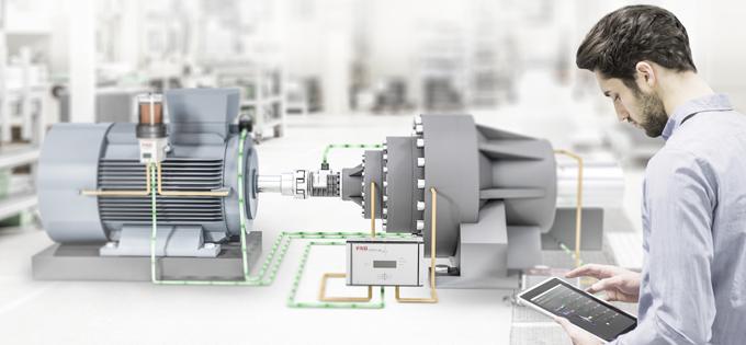 传动系统4.0:电机、离合器和变速箱的典型组合,加上FAG Xeleris扭矩测量模块和FAG SmartCheck状态监测系统,并连接到舍弗勒云端。